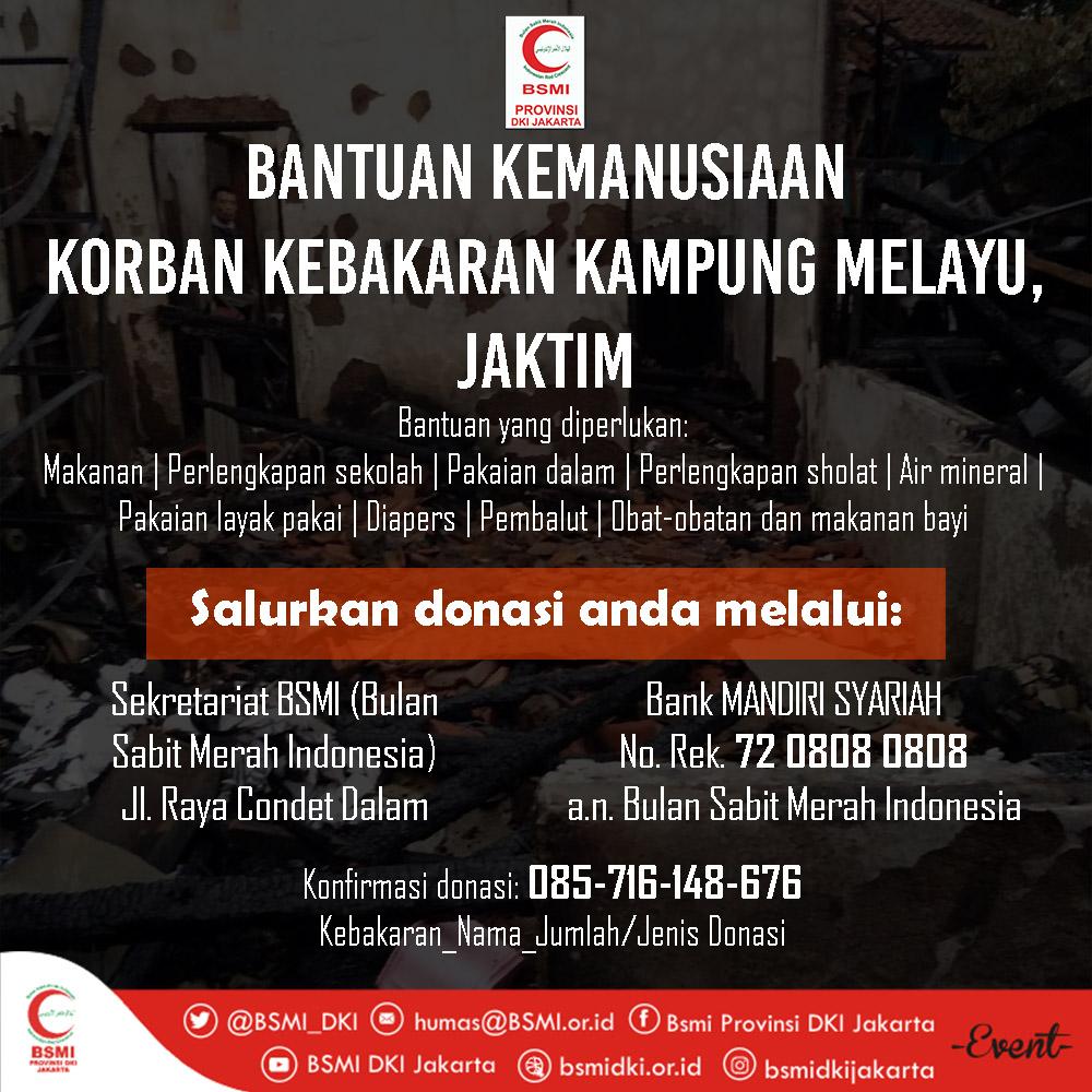 BSMI DKI Galang Dana untuk Korban Kebakaran di Kampung Melayu